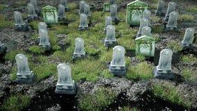Läskig gammal kyrkogård kyrka på grav för den grymma säger miniatyrreaperen halloween för kalenderbegreppsdatumet lyckliga holdin lager videofilmer