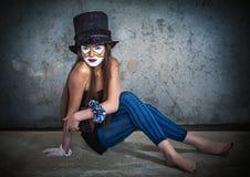 Läskig gigantisk clown för stående Royaltyfri Foto