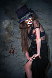 Läskig gigantisk clown för stående Fotografering för Bildbyråer