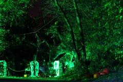 Läskig halloween nattuppsättning Arkivfoto