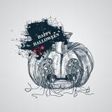 läskig halloween pumpa stock illustrationer
