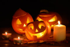 Läskig halloween pumpasila-o-lykta Arkivbilder
