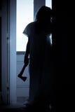 läskig kvinna för fasa Fotografering för Bildbyråer