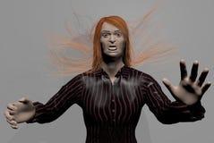 Läskig man med löst rött hår royaltyfri illustrationer