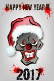 Läskig ond clown för skalle i jultomtenhatt Fotografering för Bildbyråer