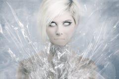 Läskig psykedelisk kvinnaframsida Royaltyfri Foto