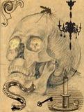 läskig skalle för 4 bild stock illustrationer