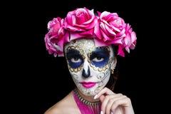 Läskig skalle för kvinnakonstsmink royaltyfria foton