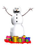 Läskig Snowman Arkivbild