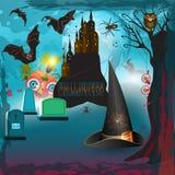 Läskiga halloween med slottet Royaltyfri Fotografi