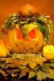 Läskiga halloween pumpor Arkivbild