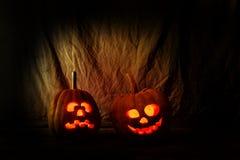 Läskiga Halloween pumpor Arkivfoto