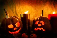 Läskiga Halloween pumpor Royaltyfri Fotografi