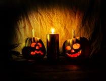 Läskiga Halloween pumpor Arkivbilder