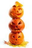 Läskiga halloween pumpor silar o-lyktor Royaltyfri Foto