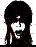 läskiga kvinnor för blodig kuslig framsida Arkivfoto