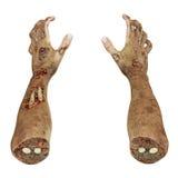 Läskiga levande dödhänder på vit 3D illustration, snabb bana royaltyfri illustrationer