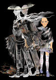 Läskiga spökar, en tvilling- spöke, en barnspöke, Arkivbild