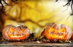 Läskigt hallowen pumpor på trä Arkivfoto