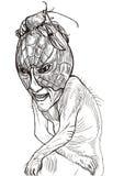 Läskigt ledset monster stock illustrationer