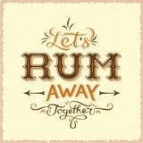 Lässt Rum-weg zusammen abstraktes Weinlese-Vektor-Beschriftungs-Plakat, Karte, Flaschen-Aufkleber oder einen Hintergrund stock abbildung