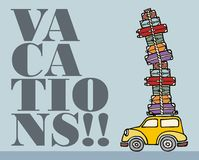 Lässt Spaß anstreben: ein Auto betriebsbereit zu den Ferien. lizenzfreie abbildung