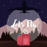 Lässt Urlaubsreiseflug-Lufttransporthimmel des flachen Vektors der Fliege Lizenzfreie Stockfotografie