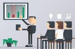 Lätt att redigera vektorillustrationen av affärspresentationsgrupp, affärsman som pekar på ett bräde arkivfoton
