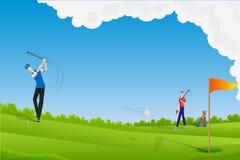 Leka Golf för man royaltyfri illustrationer
