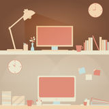 Lätt hem- skrivbord- & för kontorsskrivbord plats Fotografering för Bildbyråer