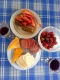 Lätt lunch med ett exponeringsglas av vin i sommaren på verandan royaltyfri fotografi