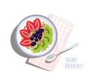 Lätt och sund morgonfrukost för yoghurtbunke - Royaltyfri Foto