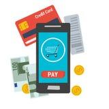 Lätt online-mobil betalning för vektorsymbol Arkivbild