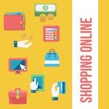 lätt redigera set shopping för symbolen till vektorn Royaltyfri Foto