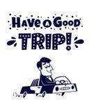 lätt redigera symbolen för att löpa Lycklig manresande med bilen Arkivfoton