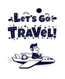 lätt redigera symbolen för att löpa Lycklig manresande med flygplanet Royaltyfria Bilder