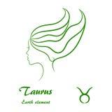 lätta goda logoer ändrar taurusen för tatueringar för formskjortatecken den enkla t till zodiac Stiliserad kvinnlig konturprofil Arkivfoto