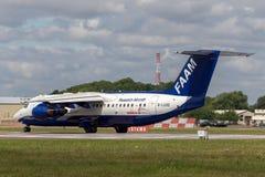 Lätthet för luftburet atmosfäriskt flygplan för forskning för rymd BAe-146-301ARA för mätningar FAAM brittiskt atmosfäriskt G-LUX royaltyfri foto