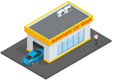 Lättheter för service 24h för biltvätt fulla automatiska med touchless utrustning automatisk bilwash Isometrisk plan vektor 3d Arkivfoton