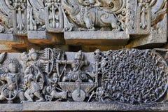 Lättnad för Halebidu väggpanel Arkivfoto