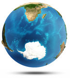 Lättnad och vatten för södra hav verklig Fotografering för Bildbyråer