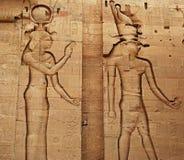 Lättnader och pelare av ön av mappen, Assuan, Egypten royaltyfria foton