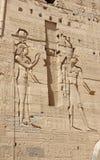 Lättnader på väggarna av templet av Philae egypt Arkivbilder