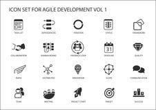 Lättrörlig uppsättning för symbol för programvaruutveckling vektor illustrationer
