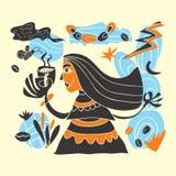 Lättrogen flicka som rymmer en kaffekopp stock illustrationer
