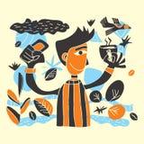 Lättrogen illustrationpojke som rymmer den kaffekoppen och telefonen royaltyfri illustrationer