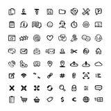 Lättrogen stilsymbolsuppsättning Klotterfärgpulver ställde in av symboler med beståndsdelar för mobila begrepp och rengöringsduka stock illustrationer