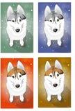 Lättrogna Huskies Vektor Illustrationer