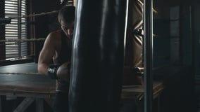 Lättvikts- boxareutbildning i tappning stiliserade idrottshallslowmo arkivfilmer