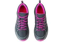Lättvikts- fotvandra startar skor för kvinnor i svart och rosa färger, isolator Royaltyfri Fotografi